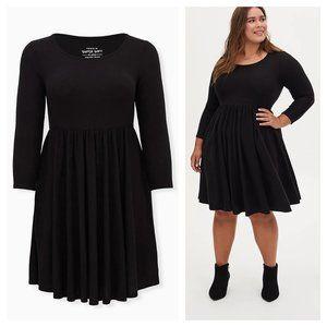 Super Soft Plush Black Scoop Neck Skater Dress